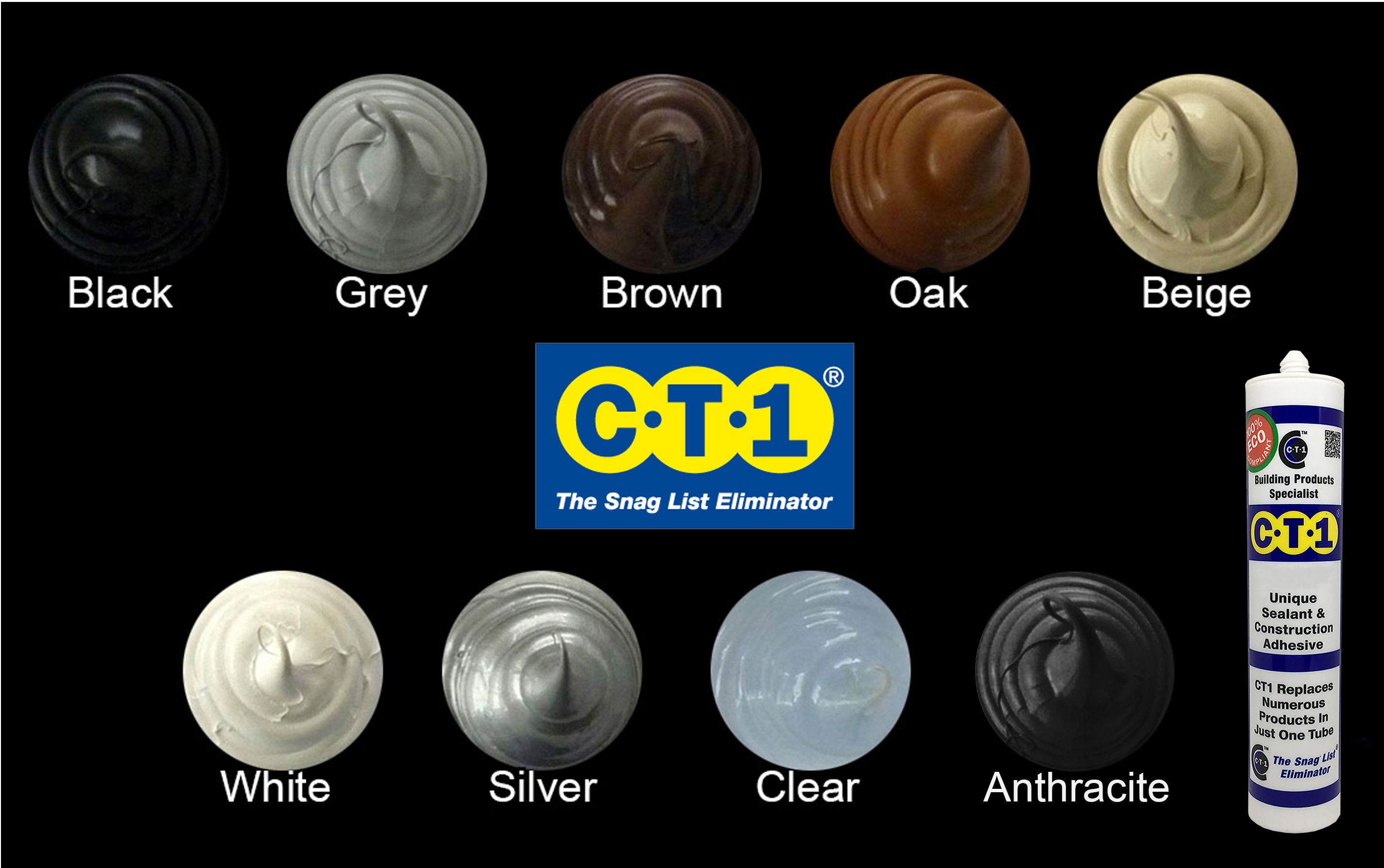 C-Tec CT1 Adhesive/Sealant colours
