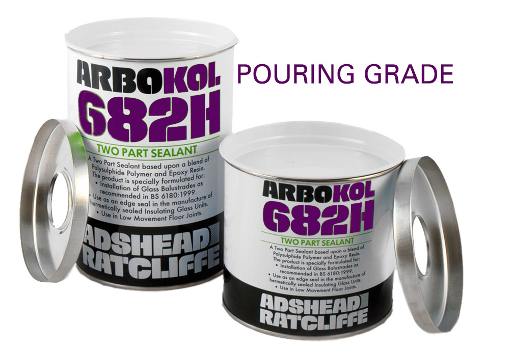 Arbokol 682H Pouring Grade Glass Balustrade Sealant 1.2 Litre Grey