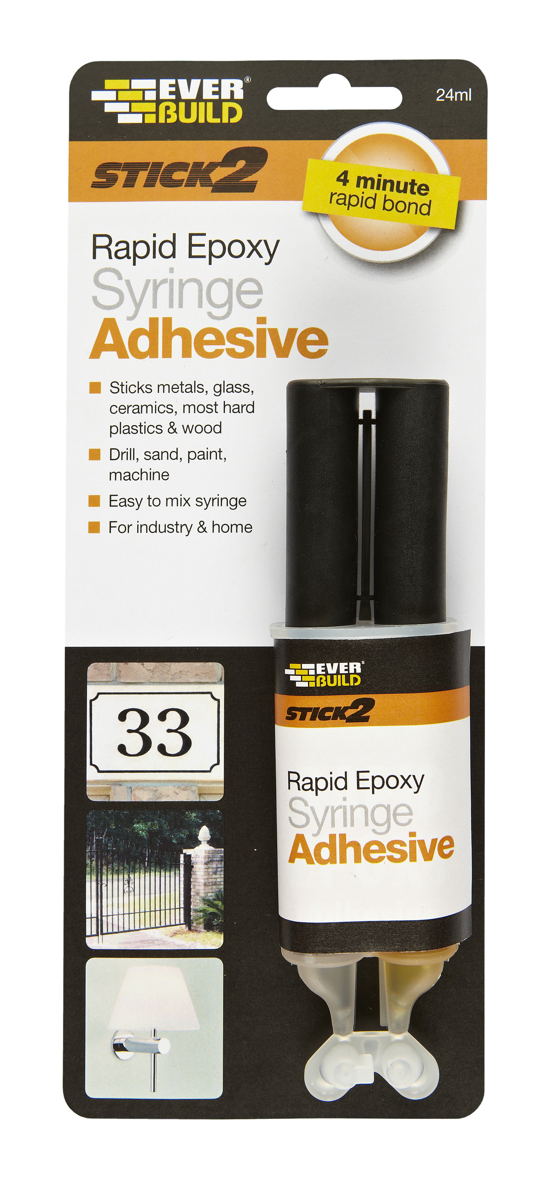 Everbuild Stick 2 2-Part Industrial Strength Rapid Epoxy Syringe 24ml