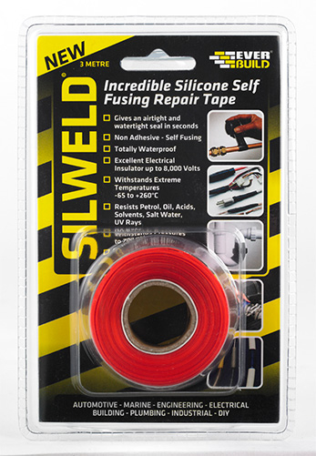 Everbuild Silweld Self Welding Silicone Tape 3m Red